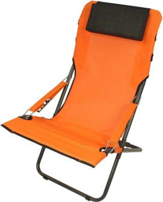 Fridani RCO 100 XXL Campingstuhl mit Armlehnen Gartenstuhl mit Kopfpolster Klappstuhl mit 4-fach verstellbarer Rückenlehne Sonnenliege mit luftdurchlässigem Sitz-Bezug, extrem bequem