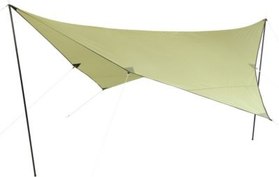 10 T Outdoor Equipment 10T Beechnut Tarp 4x4 UV-50+ - Sonnensegel, 400x400 cm mit Aufstell-Stangen und Heringen, 2000mm