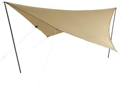 10 T Outdoor Equipment 10T T/C Tarp 4x4 UV-50+ - Sonnensegel, 400x400 cm mit Aufstell-Stangen und Heringen, 2000mm, Baumwollmischgewebe