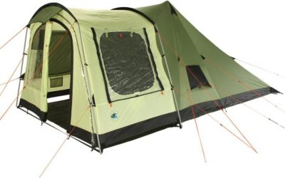 10T Camping-Zelt Tropico 4 Tipi Tunnelzelt Kombi mit Schlafkabine für 4 Personen Outdoor Familienzelt mit Wohnraum, versetzbarer Vorderwand, eingenähte Bodenwanne, wasserdicht mit 5000mm Wassersäule