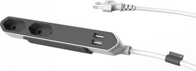 PowerBar DuoUSB, Reiseadapter mit 2 USB Steckdosen (2,1A) 2x Verteiler und Steckdosenleiste, 220V - 250V