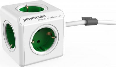 PowerCube Extended Grün EU, 5x Steckdose und Verteiler, 230V Schuko, Weiß Grün