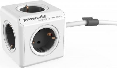 PowerCube Extended Grau EU, 5x Steckdose und Verteiler, 230V Schuko, Weiß Grau