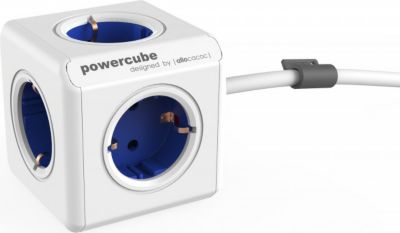 PowerCube Extended Blau EU, 5x Steckdose und Verteiler, 230V Schuko, Weiß Blau