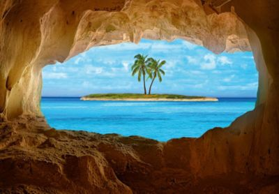 Fototapete Meer mit Insel als Optische Vergröße...