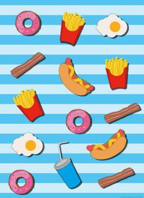 Papier Fototapete Fast Food Küche Blau 184x254cm