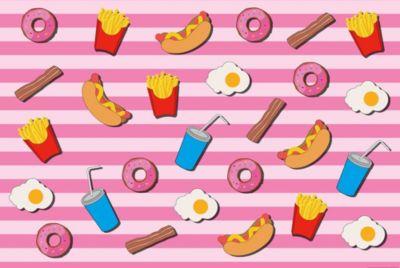 Papier Fototapete Fast Food Küche Pink 368x254cm