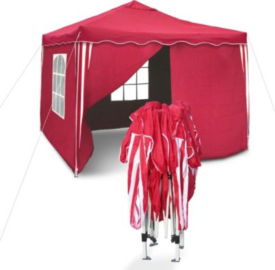 Praktischer Faltpavillon mit Seitenwänden, 3x3m, rot