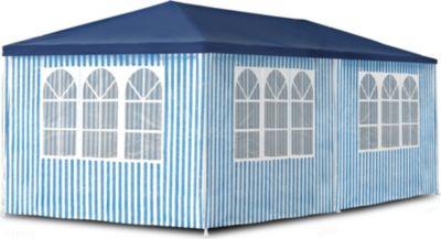 JOM Gartenpavillon 3 x 6 m, Pavillon, Pavillion, Partyzelt, Festzelt, Gartenzelt, mit 6 Seitenwänden 110G PE | Garten > Pavillons | Weiß - Blau | JOM
