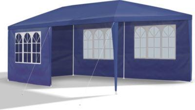Stabiler XXL Gartenpavillon mit Seitenwänden, 3x6 m, blau