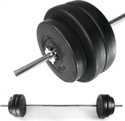 Premium Langhantel Set Hantelstange inkl Gewichten, Hantelscheiben und Curlstange