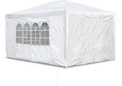 Stabiler Gartenpavillon mit 4 Seitenwänden, 3x4 m, weiß