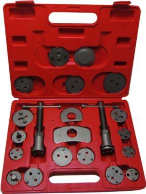 JOM Bremskolbenrücksteller / Kolbenrücksteller, 22-Teilig mit linksdrehender und rechtsdrehender Spindel, im Kunstoffkoffer