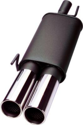 Endschalldämpfer für VW Golf 3, 2x76 mm rund/gerade mit Zulassung VW Golf III ab 66KW nicht VR6/Tdi