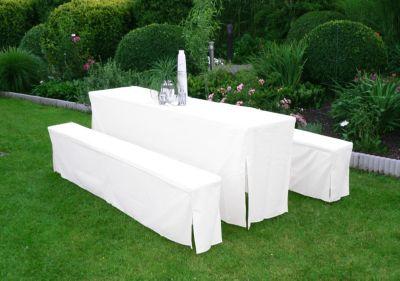 Hussen-Set für Festzeltgarnitur mit 50cm-Tisch, weiss