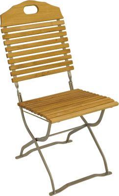 Kurgarten- Stuhl BAD TÖLZ, Flachstahl verzinkt + Robinie, klappbar, 2 Stück