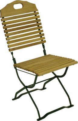 Kurgarten- Stuhl BAD TÖLZ, Flachstahl grün + Robinie, klappbar, 2 Stück