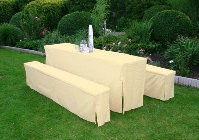 Hussen-Set für Festzeltgarnitur mit 70cm-Tisch, gepolstert, creme