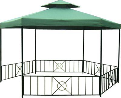 pavillon siena 6 eckig stahl schwarz plane pvc beschichtet dunkelgr n baumarkt xxl. Black Bedroom Furniture Sets. Home Design Ideas