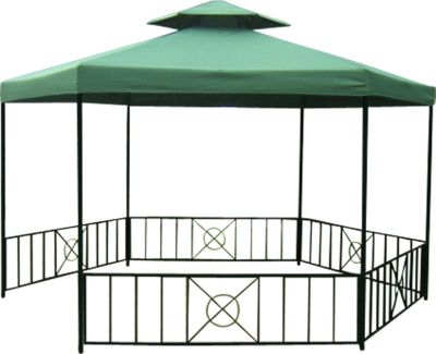 Pavillon SIENA 6-eckig, Stahl schwarz, Plane PVC-beschichtet dunkelgrün