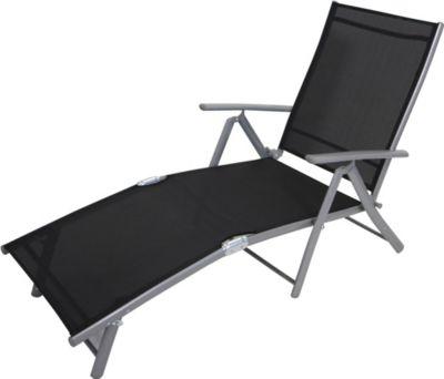 Sonnenliege ACAPULCO, Stahl / Aluminium + Kunstgewebe schwarz, klappbar