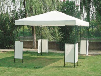 Pavillon COLOMBO 3x3 Meter, Stahl grau, Plane PVC-beschichtet weiss