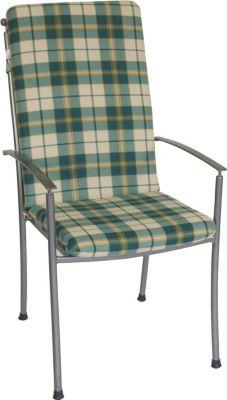 Auflage BOSTON für Hochlehner-Sessel, grün/beige kariert