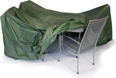 gartenmoebel einkauf Abdeckhaube Garnitur 320x96cm rund, Polyester PVC-beschichtet dunkelgrün