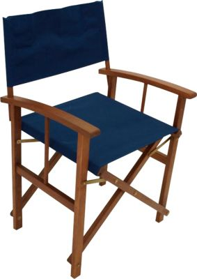 Regiesessel SPRINGFIELD 2-er Set, Eukalyptusholz, Bezug dunkelblau