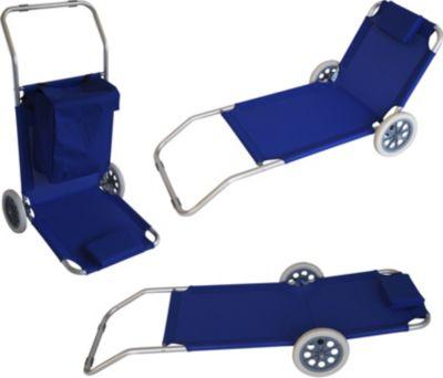 gartenmoebel einkauf Funktions - Strandwagen, Stahlgestell + Kunstgewebe blau