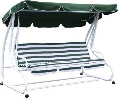 DEGAMO Hollywoodschaukel MIAMI 4-sitzer, weiss / grün, mit Liegefunktion | Garten > Gartenmöbel > Hollywoodschaukeln | Weiss | gartenmoebel-einkauf