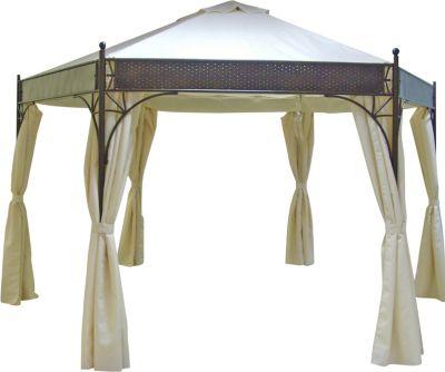pavillon lagos 6 eckig stahl grau plane pvc beschichtet cru baumarkt xxl. Black Bedroom Furniture Sets. Home Design Ideas
