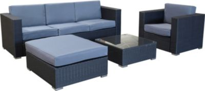 Lounge - Set LIVORNO 4-tielig, Aluminium + Polyrattan dunkelgrau, Polster grau