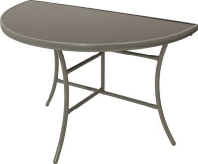 Wandtisch Palermo halbrund, Metall + Glas schwarz