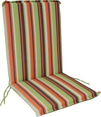 gartenmoebel einkauf 2x Auflage CAIRO für Stuhl, grün/orange gestreift