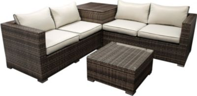 gartenmoebel-einkauf Lounge Set CAVOLI, Aluminium + Polyrattan grau ...