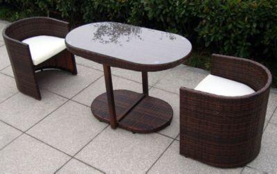 Baidani Rattan Balkon-Set Space | Garten > Balkon > Balkon-Sets | Schwarz | Rattan | Baidani