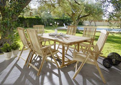 ® Gartenmöbel Teak Set 7tlg. Gartentisch 180 cm - 240 cm KA