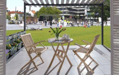SAM® Balkonset Teakholz 3tlg Tisch 80 x 80 cm Armlehnstuhl RONDO   Garten > Balkon > Balkontische   Teakholz - Teak   SAM
