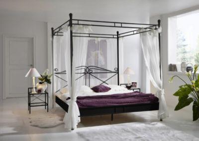 SAM® Design Himmelbett 140 cm schwarz Venezia | Schlafzimmer > Betten > Himmelbetten | Schwarz | SAM