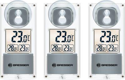 Bresser BRESSER Solar Fenster Thermometer mit Saugnapf - 3er Set