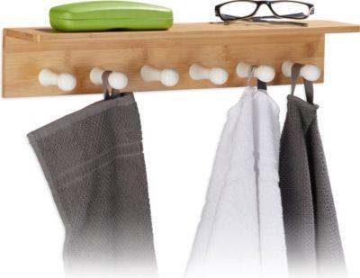 relaxdays Handtuchhalter Bambus für die Wand