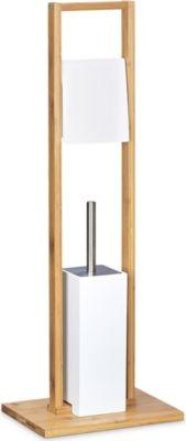 relaxdays Stand WC Garnitur aus Bambus