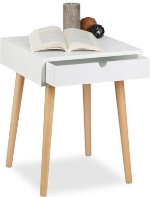 relaxdays Nachttisch ARVID mit Schublade | Schlafzimmer > Nachttische | relaxdays