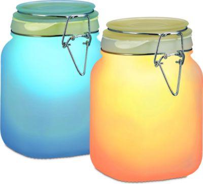 Solarleuchte im Einmachglas bunt