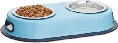 relaxdays Doppelnapf Futterstation blau - Preisvergleich