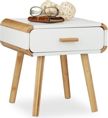 relaxdays Nachttisch mit Schublade | Schlafzimmer > Nachttische | Weiß | relaxdays