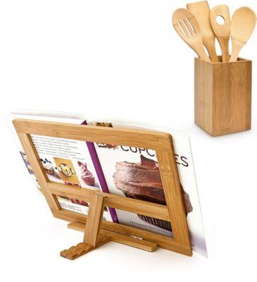 relaxdays 2er Kochset Kochbesteck Küchenutensilien Kochbuchhalter Buchstütze neigbar natur
