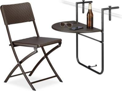 relaxdays 2 tlg. Sitzgruppe Balkon BASTIAN Hängetisch Klappstuhl Klapptisch robust schwarz | Garten > Balkon > Balkontische | Kunststoff - Rattan | relaxdays