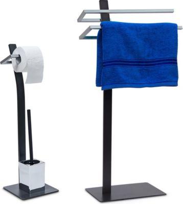 relaxdays 2 tlg Badezimmer Set GRAO Handtuchstä...